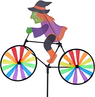 Home Queen Bike Spinner, 3D Halloween Witch on Bike Windmill, Colorful Rainbow Wheel Wind Spinner, Whirligig Pinwheel Garden Yard Outdoor Décor
