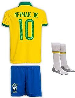 Calze FFF Football World Cup Brasile Set Completo//Maniche Corte Vintage Shirt Neymar JR No.10 Vintage Brazilian Style Football Wear T-Shirt Bambini Shorts