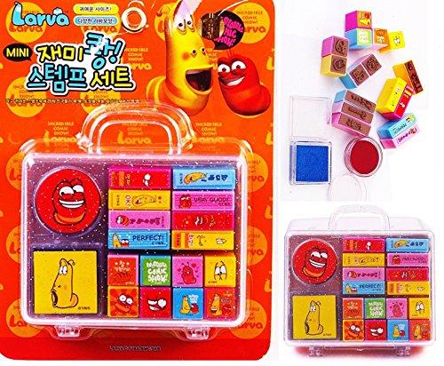 Cartoon Larva stamp play set 16 kinds stamp play toy