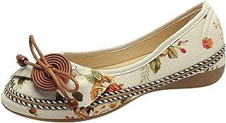 Zapatos Casuales de Verano para Mujer Estilo Nacional Zapatos de Encaje Bordados Cuerda de cáñamo Fondo Plano Sandalias de...