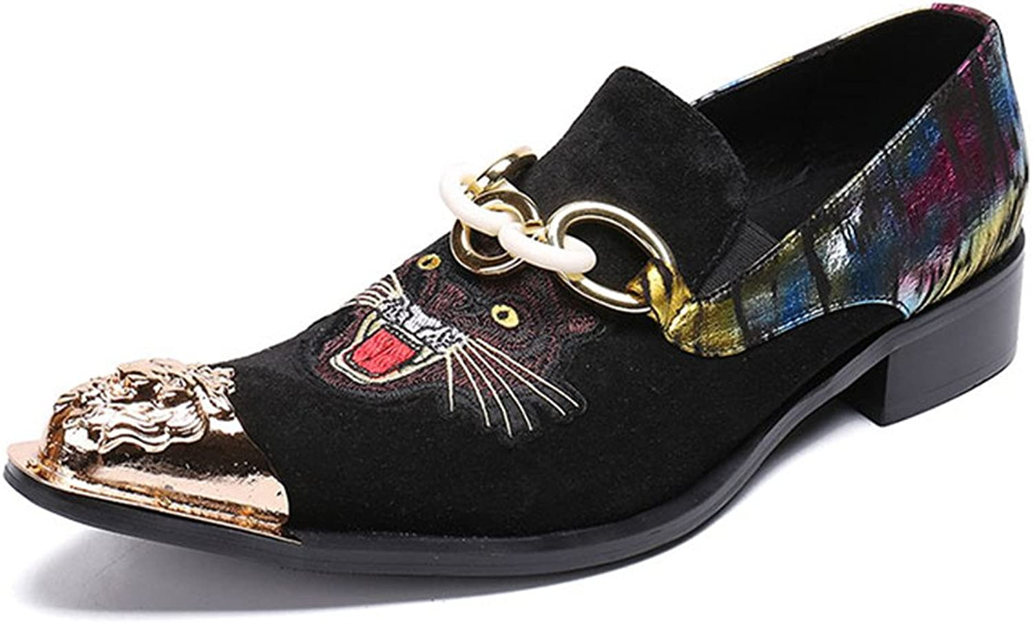Men shoes Velvet Loafers Business Animal Embroidery Formal Dress Metal Toe Wedding Party Size 38 To 46 Chain
