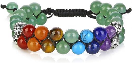 Top Plaza Bead Chakra Bracelet 7 Chakras Healing Crystals Bracelet Yoga Stone Beads Bracelets Meditation Relax Anxiet...