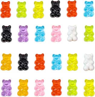 PH PandaHall 144pcs 9 Colors Gummy Bear Cabochons Resin Cartoon Bear Beads Embellishments Bears Animals Jungle Decoration ...
