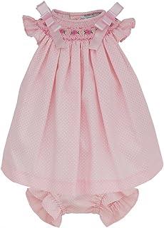 Marakitas Baby & Toddler Girl Smocked Dress – Angel Sleeve Cotton – Handmade Embroidery (Pink, 3 Months)