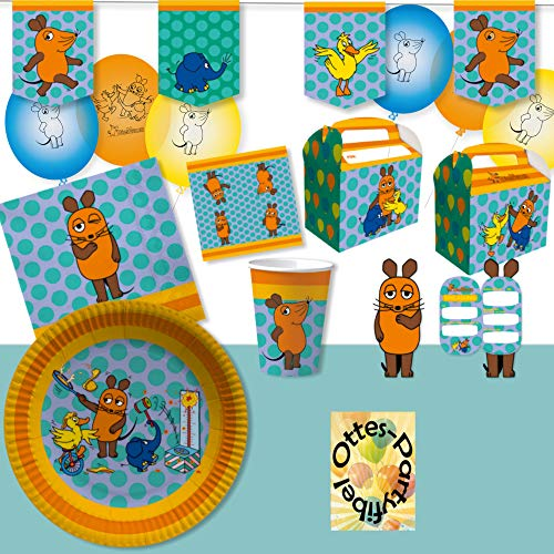 HHO Die Sendung mit der Maus-Party-Set für 8 Lach- und Sachgeschichten-Fans 62tlg. Becher Teller Servietten Einladung Geschenkboxen Tischdecke Luftballons Wimpelkette