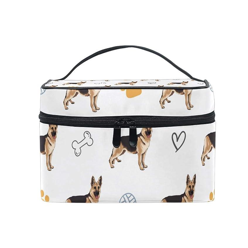 じゃないアウトドアピカソメイクボックス シェパード犬ペット愛柄 化粧ポーチ 化粧品 化粧道具 小物入れ メイクブラシバッグ 大容量 旅行用 収納ケース