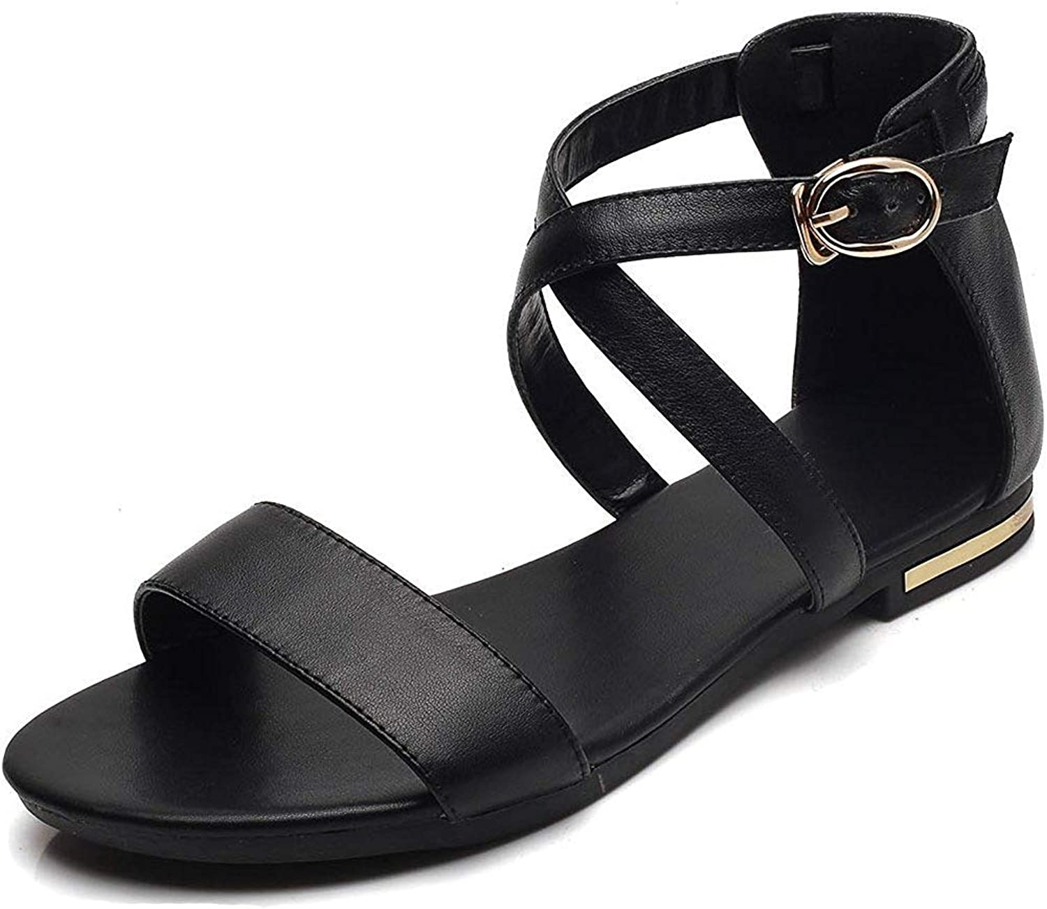 Unm Women's Open Toe Flat Sandals with Ankle Cross Strap - Buckled Comfort - Casual Faux Leather