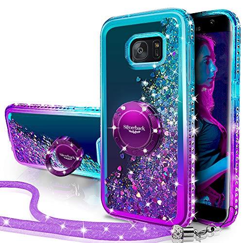 Miss Arts Galaxy S6 Edge Hülle,[Silverback] Mädchen Glitzern Handyhülle hülle mit Ringständer, Cover TPU Bumper Silikon Flüssigkeit Treibsand Clear Schutzhülle für Samsung Galaxy S6 Edge -LILA