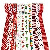 Cinta adhesiva navideña,10 rollos Cinta adhesiva decorativa autoadhesiva Cinta adhesiva colorida Cinta adhesiva de bricolaje Máscara japonesa para revistas,decoraciones navideñas de Navidad A