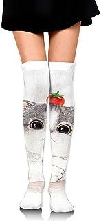iuitt7rtree Thigh High Socks Cute Cats Play Tomatoes Knee High Long Socks Boot High Socks For Women