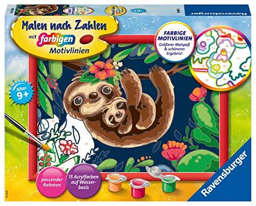 Ravensburger Malen nach Zahlen 28698 - Niedliche Faultiere - Für Kinder ab 9 Jahren