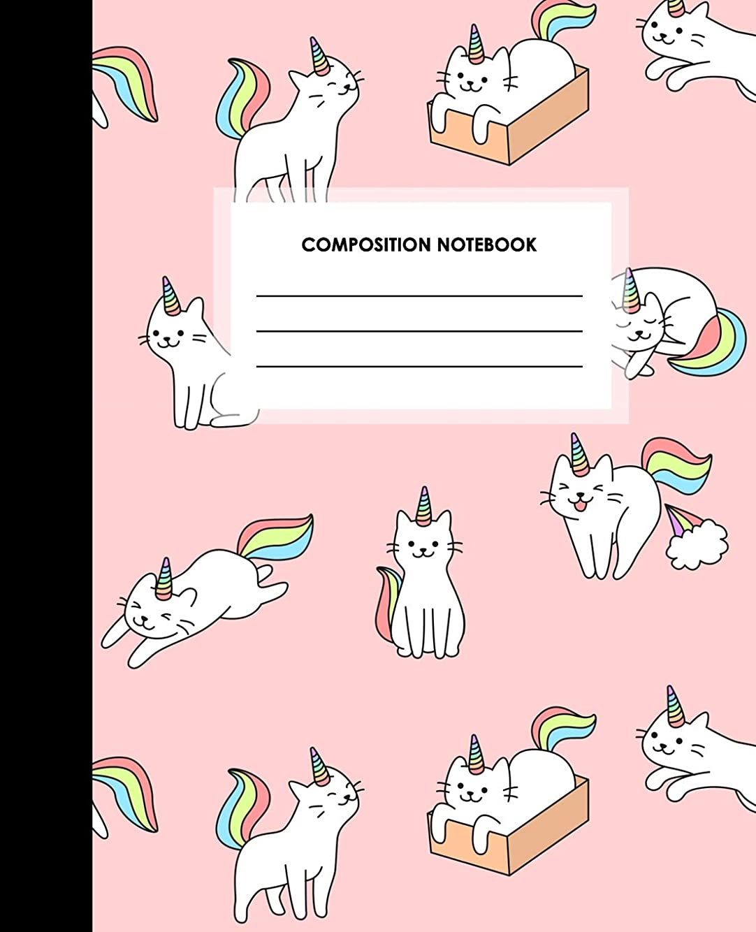 相反するサミット飲み込むComposition Notebook: Blank Lined Composition Notebook Journal for School, Writing, Notes, Wide Ruled, Pink Caticorns