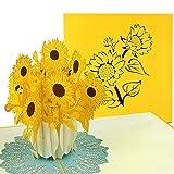 PaperCrush Pop-Up Karte Sonnenblumen - 3D Blumenkarte für beste Freundin oder Mutter (Geburtstagskarte, Runder Geburtstag, Danke, Gute Besserung) - Handgemachte Popup Glückwunschkarte mit Blumen