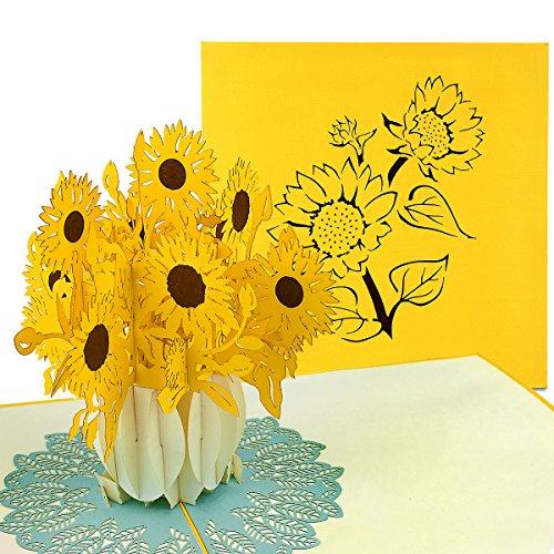 PaperCrush® Pop-Up Karte Sonnenblumen - 3D Blumenkarte für Frau, Freundin oder Mutter (Geburtstagskarte, Bleib Gesund, Gute Besserung) - Handgemachte Popup Glückwunschkarte mit Blumen zum Geburtstag