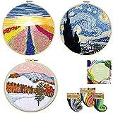 3 juegos de bordar con patrones e instrucciones (Inglés), incluye tela de bordado con patrón floral, 3 aros de plástico para bordar, hilos de colores y herramientas