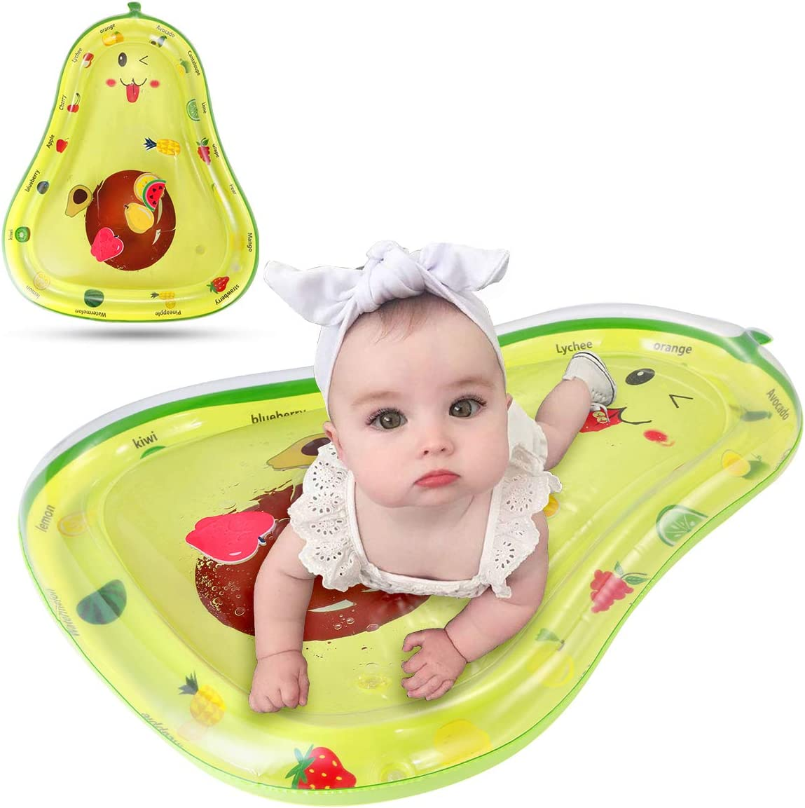 Wallfire Baby Inflatable Water Mat Infants Toddlers Tummy Time Play Mat Toy for 3 6 9 Months Newborn Boy Girl (Green, 65 x 83cm/25.6 x 32.7inch)