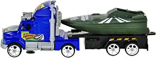 Rhode Island Novelty (6X) 7.5 Inch Flatbed Truck Set w/ Boat in Tow