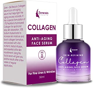 ZONE - 365 Collagen Serum for Face; Heals Plumps and Reduces Wrinkles; Hyaluronic Acid with Peptides Vegan Friendly; 1 fl oz