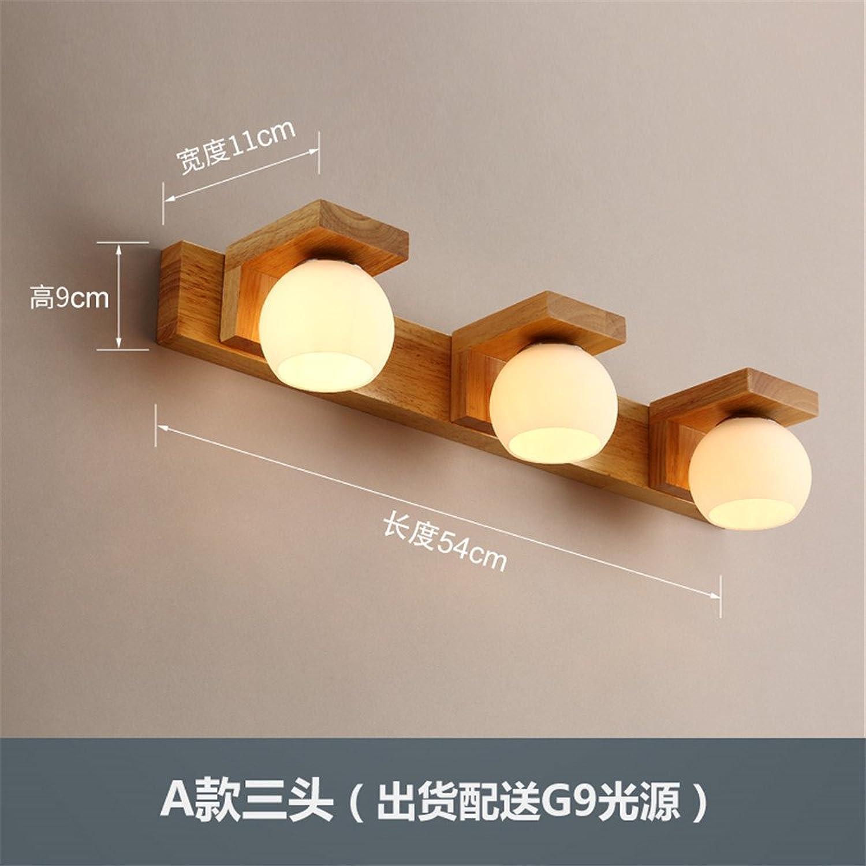 StiefelU LED Wandleuchte nach oben und unten Wandleuchten Dekorative Spiegel vorne aus hellem Holz Wandleuchten Holz Schminktisch Schminkspiegelleuchte Schlafzimmer Nachttischlampe Wandleuchte, 3 Leiter