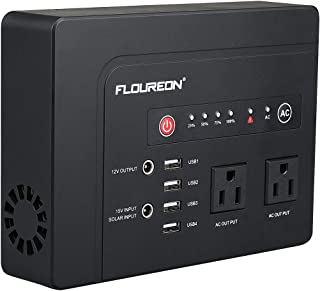 floureon Portable Power Station Solar Generator Backup Power Supply, Portable Power Emergency Backup Lithium Battery 200W 146wh/42000mAh with 110V AC Outlet 2 DC Output 4 USB Output LED Flashlight.
