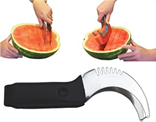 Stainless Steel Watermelon Slicer Corer Cutter Server Tongs - One Year Warranty - essential tool for serving perfect melon slices - extra large classic kitchen knife best tool to cut fruit fast