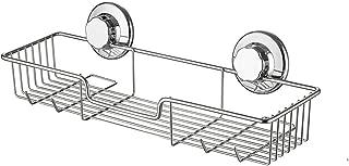 Slideep Suction Cup Shower Caddy, Bathroom Organizer Basket Shelf with Hooks, Deep Bathroom Storage Kitchen Organizer Basket Accessories, No Drilling Wall Mounted, Rustproof Stainless Steel