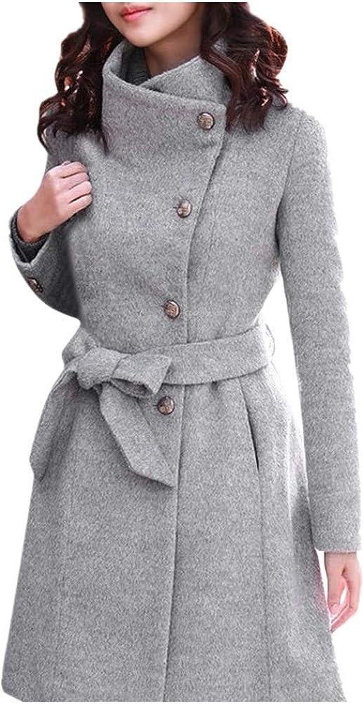 NREALY Jacket Women's Winter Lapel Wool Coat Trench Jacket Long Sleeve Overcoat Outwear
