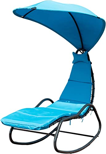 lowest Giantex Chaise Lounge Swing Chair, Outdoor Hammock with Stand and Canopy, Porch Swing 2021 w/ Soft Cushion Removable Headrest, Outdoor Recliner online Rocking Chair for Garden Backyard Poolside (Blue) outlet online sale