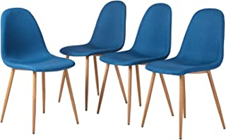 GreenForest Dining Side Chairs Strong Metal Legs Fabric Cushion Seat Back Dining Room Chairs Set of 4,Bright Blue