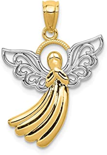 14k Yellow Gold Filigree Angel Pendant Charm Necklace Religious Fine Jewelry Gifts For Women For Her