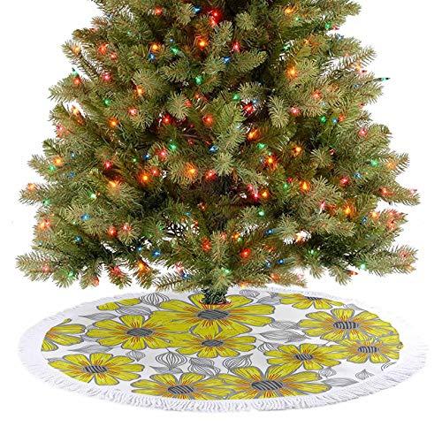 Falda para árbol de Navidad de lujo, color gris, envejecido, diseño retro, con líneas de margaritas, para dibujar con vertederos y moteos, plantas de jardinería, color gris 2020
