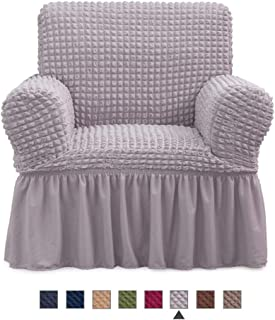 NICEEC Armchair Slipcover Grey Armchair Covers 1 Piece Easy Fitted Sofa Couch Cover Universal High Stretchable Durable Furniture Protector with Skirt Country Style (1 Seater Gray)