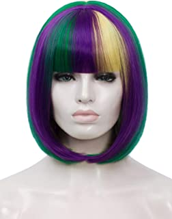 Bopocoko Short Purple Green Yellow Wigs for Women, 12'' Colorful Bob Hair Wig with Bangs, Natural Fashion Synthetic Full W...