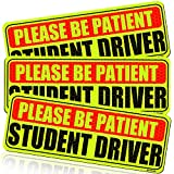 Botocar Student Driver Magnet for Car, Please Be Patient Student Driver, Magnetic Reflective Rookie Driver Bumper Sticker, New Drivers Vehicle Safety Sign, Yellow Large Bold Text 10 x 3.5 Inch, 3 Pack