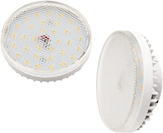 GX53 LED Under Cabinet Light Luxvista 6 Watts Gx53 Bi-pin Base LED Bulb Daylight 6000K for Showcase, Exhibition, Shop Showroom Lighting 60W Incandescent Equivelent, Non-Dimmable(2-Pack)