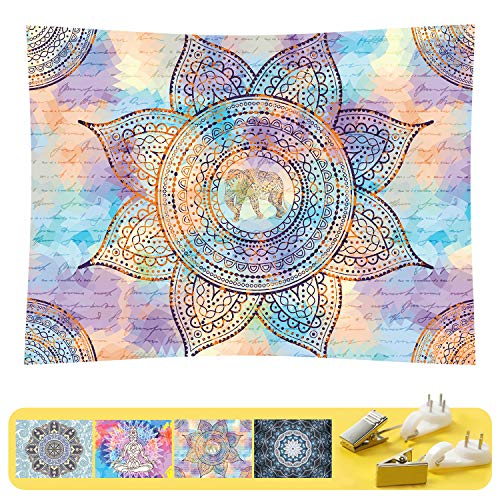 Art Handicrafts Hippie Mandala Tapestry Wall Hanging, Tapestries Hanging for Decor Bedroom Dorm Bedspread Picnic Blanket Matching Multi Style and 3 Size (Purple, L:W 78.7'×H 59.1')
