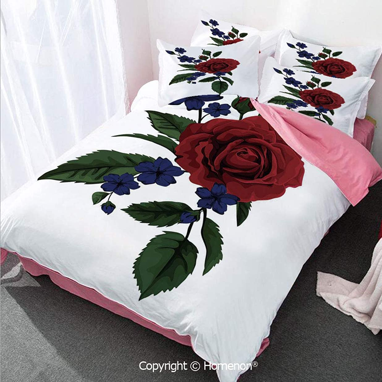 Rose Girl's Room Duvet Cover Set Twin Size,Rosebud with Little Blossoms Leaves Love and Passion Theme A,Decorative 3 Piece Bedding Set with 2 Pillow Shams Ruby Violet Blue Hunter Green rneomdog6