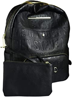 Steve Madden Women's Faux Leather Backpack With Front Pocket - Black