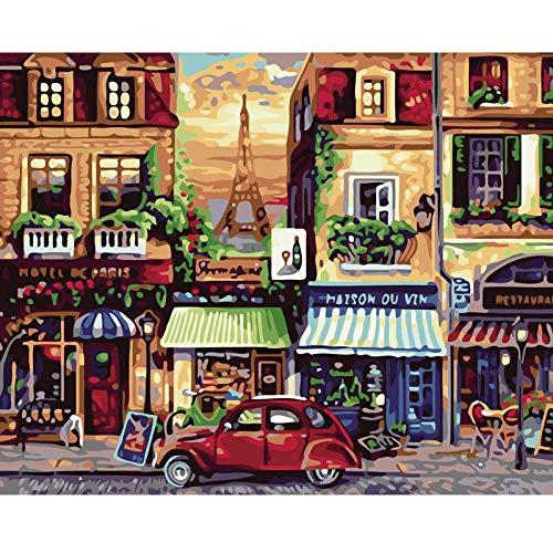 SDHJMT Anfänger Malen nach Zahlen Kit Bild-Wanddekoration der lebhaften Straßenzusammenfassungs-Ölfarbe Digitale Leinwand DIY ölgemälde 16x20inch
