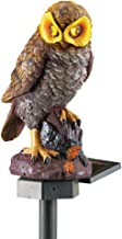 Collections Etc Solar Brown Hooting Owl Garden Decor Yard Stake, Brown