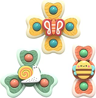 Anjetan 3PCS Suction Cup Toys Plastic Funny Cute Biting Suction Cup Spinner Toys Baby Rattle Toy for Kids