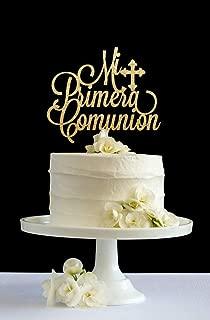 Cheyan Primera Comunion Holy Communion First Communion Glitter Cake Decor Cake Topper for Wedding Anniversary Cake Topper Funny Wedding Present for the Couple