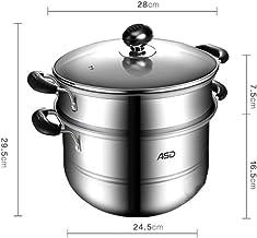 PPSM Steamer, Stainless Steel Steamer, 26cm/28cm Stainless Steel Two-layer Double Bottom Steamer, Steamer, Gas Cooker Univ...