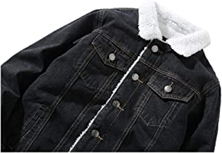 Mens Warm Lapel Sherpa Fleece Lined Thicken Denim Jean Trucker Jacket