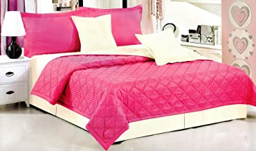 Hours King Size, Mixed,Solid Pattern, Pink - Bedding Sets