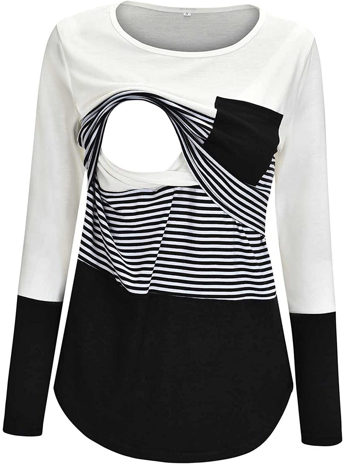 Women's Maternity Tunic Tops Long Sleeve Striped Pregnancy Pullover Pregnant Nursing Tops Pregnant Clothes