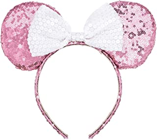 A Miaow Mickey Mouse Sequin Ears Headband Minnie Glitter Hair Clasp Birthday Supply Girls Kids adult (Pink and White)