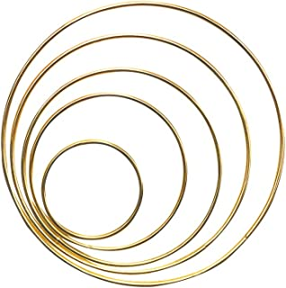 10 PCS Gold Craft Dream Catcher Metal Rings Hoops Metal Macrame Rings in 5 Different Sizes for Dream Catchers Wreaths Macrame Projects