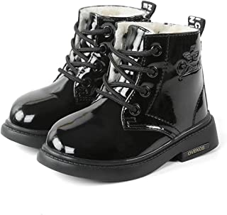 Ankle Boots for Kids Combat Boots for Girls Boys Faux Fur Lined Boots Warm Lace-up Side Zipper Toddlers/Little Kids/Big Kids