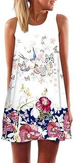 Vestidos para Mujer Mini Vestido Corto de Playa sin Mangas de Verano para Elegantes Vestido Estampado Retro Verano 2019 Madre